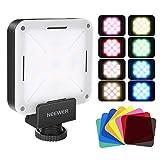 Neewer 12 SMD LED Mini LED Videolicht im Taschenformat für die Kamera mit Akku/USB-Ladegerät/Blitzschuh und 8er Pack Farbfiltern für Canon Nikon Sony und Anderen DSLR-Kameras -