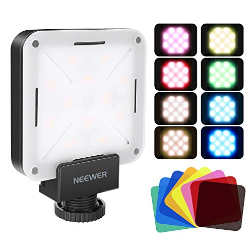 Neewer 12 SMD LED Mini LED Videolicht im Taschenformat für die Kamera mit Akku/USB-Ladegerät/Blitzschuh und 8er Pack Farbfiltern für Canon Nikon Sony und Anderen DSLR-Kameras