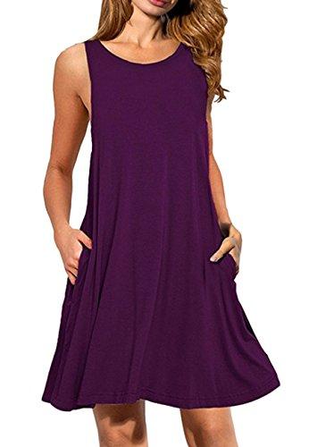 OMZIN Damen Oversized Tank Shirt Kleid Casual Swing Leger Kleid, M, Tasche-violett