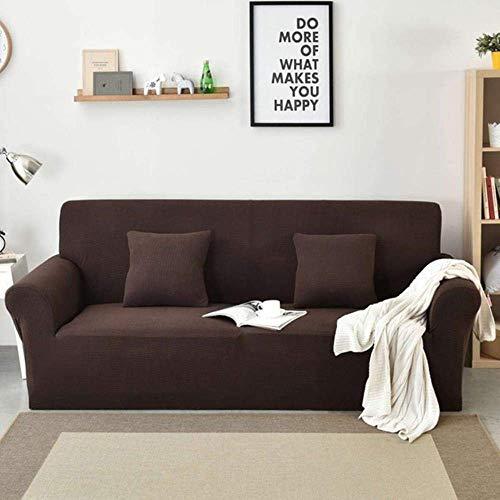 Lsqdwy 1/2/3/4 plazas Funda para sofá de Color sólido Funda para sofá elástica Funda Completa para sofá Funda de Almohada elástica Fundas para sillas de Forro Polar, Marrón ámbar, L (190-230MM)