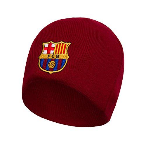FC Barcelone Officiel - Bonnet en Tricot thème Football - avec Blason - Bonnet Rouge