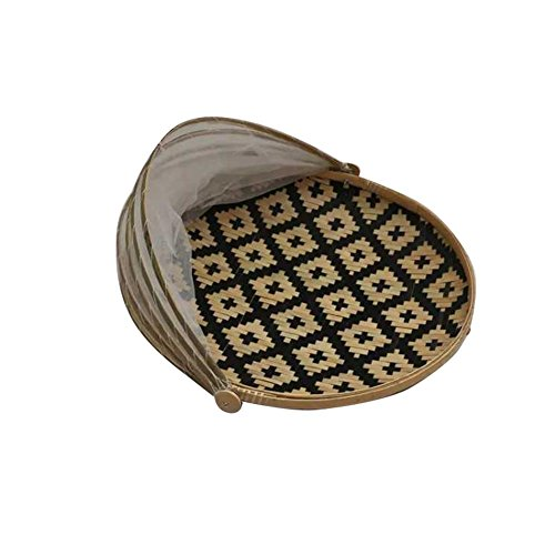 Cesta Moscas Redondas de bambú, Mosquitos, cestas de Almacenamiento a Prueba de Polvo, cestas de Red, cestas, cestas de Almacenamiento, bandejas de Frutas y Verduras, cestas de bambú secas
