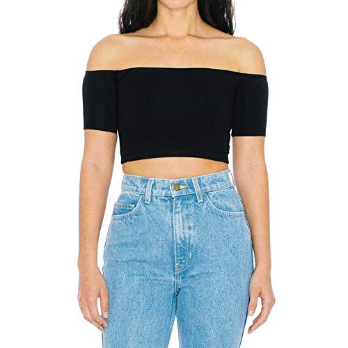 American Apparel Women Cotton Spandex Off-Shoulder Short Sleeve Top, Black, Large