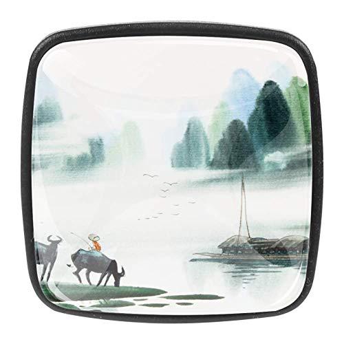 TIZORAX Pomos de cajón chinos de cowboy lago, paisaje de cocina, tiradores cuadrados, 4 paquetes para armario, aparador, puerta, decoración del hogar