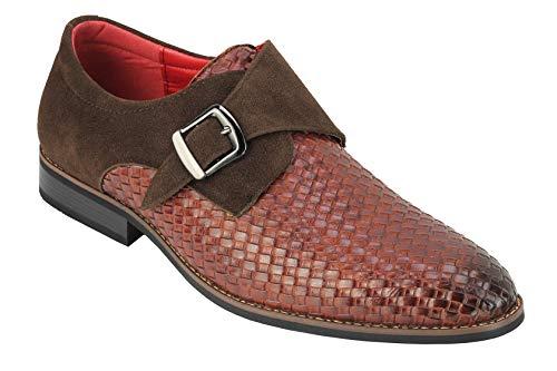 Monk Correa de los Zapatos para Hombre de la Armadura de Relieve Cuero de la Oficina Retro Inteligente Classic Slip en el Vestido de los Holgazanes [A1690-BROWN-42]