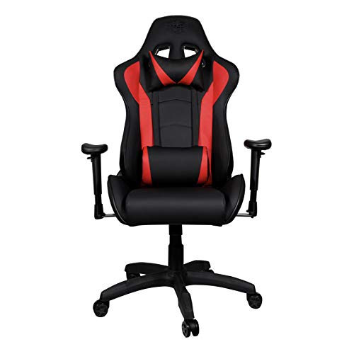 Cooler Master Caliber R1 Gaming Chair for Computer Game, Office and Racing Style Gamer, Comfy Ergonomic Reclining High Back Desk Chairs with Arms & Seat Adjustment Lumbar Support PU Leather, Red