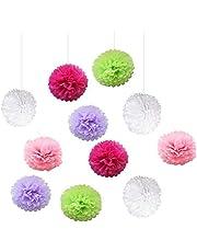 20 Piezas Decoración de Fiesta Pompom Flores,Abanicos de Papel Bola,Kit de Fiesta de Pompones,Papel para Colgar Bola Decoración,pompones de papel,Flores Decoracion Cumpleaños