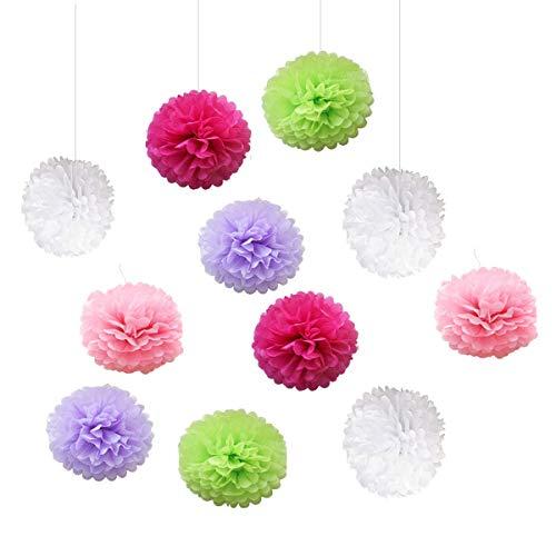 20 Piezas Decoración de Fiesta Pompom Flores,Abanicos de