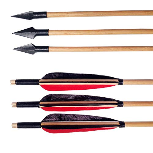Milaem 32 Pulgadas Flechas de Madera Flechas de Caza con Plumas de Naturaleza de 5 Pulgadas y Puntas de Caza para Arco Largo de Arco recurvo