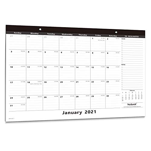 Nekmit 2021-2022 Yearly Monthly Desk Pad Calendar, Wall Calendar for Home Schooling Plan & Schedule, Ruled Blocks, 16-3/4 x 11-4/5 Inches, Black