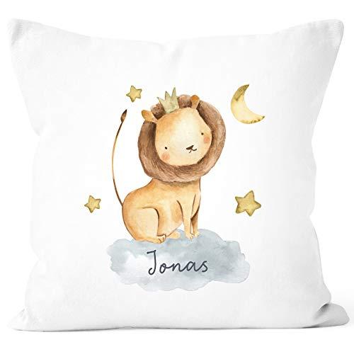 SpecialMe® Kissen-Bezug mit Namen Wunschname Tier-Motive Nashorn Löwe Elefant Watercolor Namenskissen Kinder Baby Löwe weiß Unisize