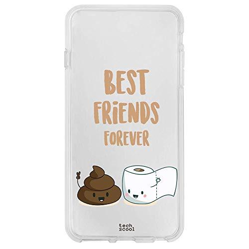 Funnytech® siliconen beschermhoes voor Motorola Moto One Action [flexibele siliconengel, exclusief design] Best Friends papier en caca-achtergrond transparant