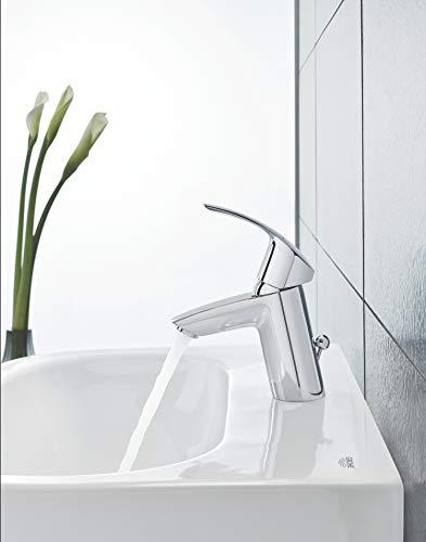 Grohe Eurosmart Waschtischarmatur, mit Zugstange, S-Size, Wasserhahn, Armatur, Waschtischarmatur, Waschbecken, Mischbatterie, Wasserkran (33265002) - 9