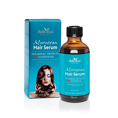 SÉRUM CAPILAR CON ACEITE DE ARGÁN ORGÁNICO NATURAL MOROCCAN HAIR SERUM BELLE AZUL - Protege, nutre y acondiciona - Para todo tipo de cabello / 100 ml.
