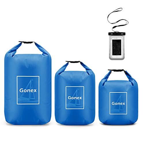 Gonex Dry Bag 4L+8L+12L Set, Wasserdichter Beutel Seesack mit Roll-Top, Wasserfester Rucksack mit Handytasche und Schultergurt für Kajakfahren, Boot, Kanufahren, Schwimmen, Wassersport, Blau