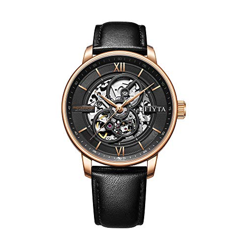 Fiyta DGA23001.PBB - Reloj de pulsera automático para hombre (correa de piel negra y esfera esqueleta), color negro