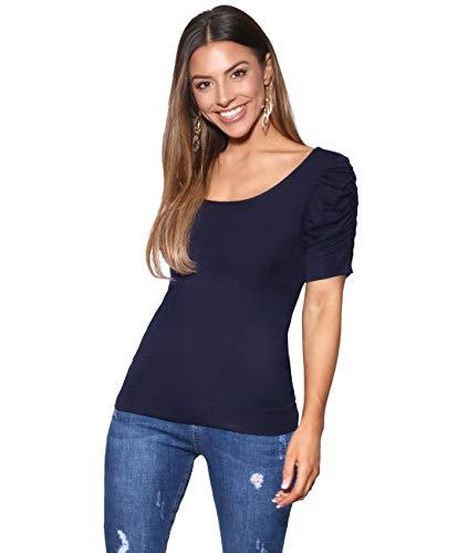 3900-NVY-18: Schlichtes T-Shirt mit Raffung an den Armen (Marineblau, Gr.46)