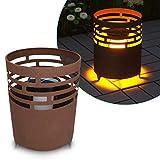 Navaris LED Solar Feuerstelle - 19 x 25cm - mit Erdspieß - Garten Solarleuchte Lampe - Deko Solarlampe Balkon Leuchte - Außen Gartenleuchte Braun