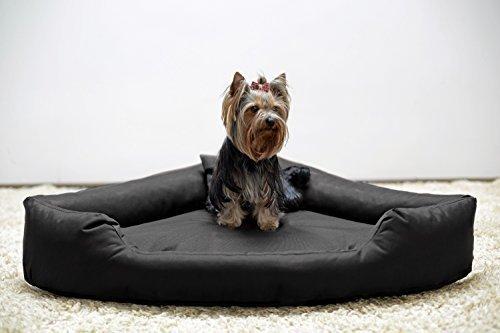 tierlando® Orthopädisches Hundebett Trivia Visco Eckbett Eckhundebett Festes Polyester. EIN wahres Platzsparwunder Gr. M 80cm Schwarz