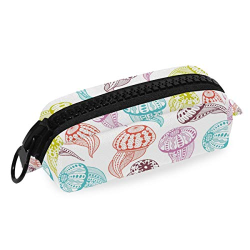 Federmäppchen aus Segeltuch mit Reißverschluss, niedliches Quallen-Motiv, für Stifte, Kosmetik, Make-up, zum Basteln