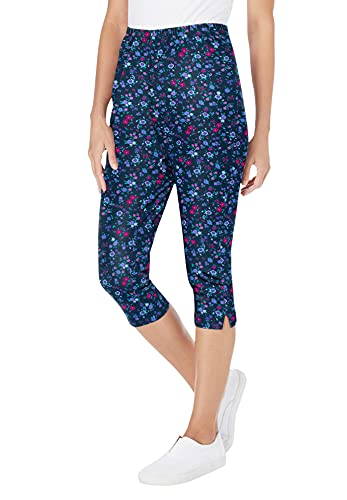 Woman Within Women's Plus Size Stretch Cotton Printed Capri Legging - 6X, Navy Lovely Ditsy Blue
