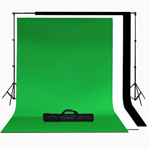 BPS 100% Algodón Fondos Fotografía Muselina y Soporte de Estudio Retrato y Vídeo, Backdrop Kit - 2x3m Sistema Soporte de Fondo + 3 Colores Fondos 2.8x1.8m / 6x9 Pies