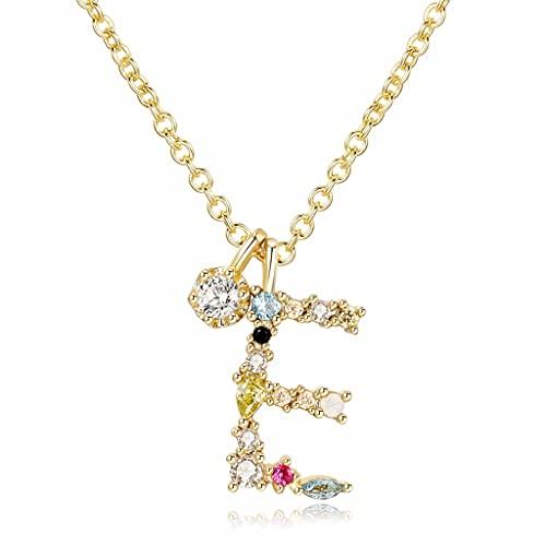 MIKUAU collarCollar Inital de Plata para Mujer, Chapado en Oro, Delicado, Colorido, con Diamantes de imitación, Collar con Letras, colección de Cristales