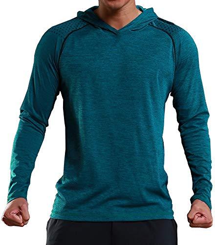 Rdruko Men's Gym Active Shirts Long Sleeve Hooded Running Sports Tee Tops(Green, US L)
