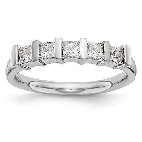 Anillo de boda de oro blanco de 14 quilates con 5 piedras de diamante de 0,325 quilates para mujer