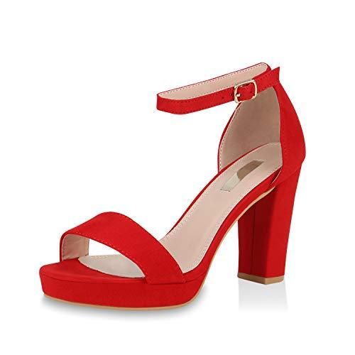 SCARPE VITA Damen Pumps Riemchensandaletten Plateau Sandaletten Elegante Sommer Party Schuhe Wildleder-Optik High Heels Absatzschuhe 170681 Rot 39