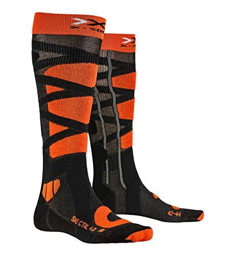 X-Socks Ski Control 4.0, Calze Invernali da Sci Unisex – Adulto, Anthracite Melange/X-Orange, 42/44