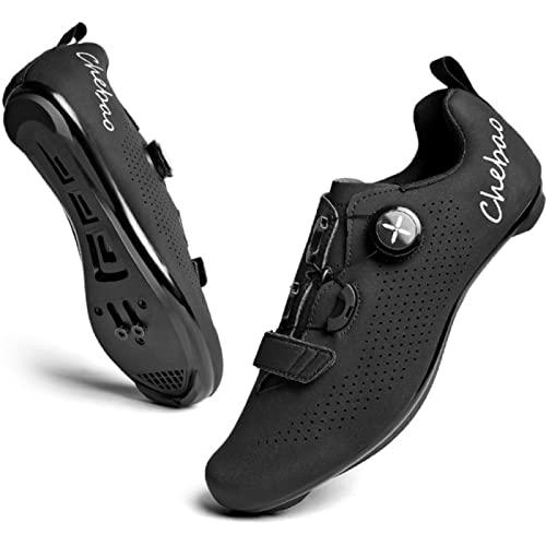 ASORT Scarpe da Ciclismo Uomo Donna Strada SPD Scarpe da Ciclismo per Bici Shoestring Compatibili con I Pedali Look Delta con Tacchette Delta,Black-47EU