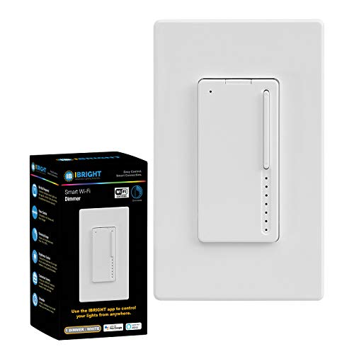IBRIGHT Smart Dimmer Light Switch (1 or 3-Way), 2.4Ghz Wi-Fi, 120 VAC, LED & Incandescent/Halogen, Neutral Wire Required, No Hub Required (Works with Alexa & Google Assistant) cETL & FCC Listed