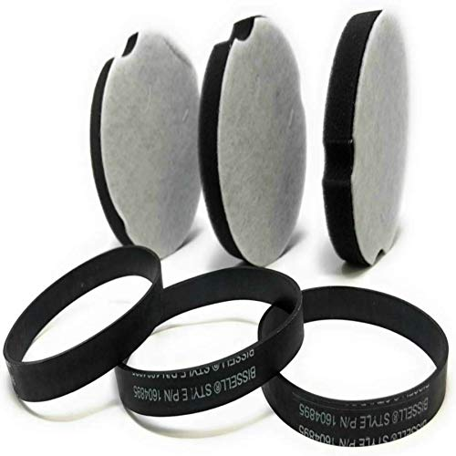 Bissell Filters and Belts OEM Replacements, Fits Powerforce Compact Lightweight Vacuum Models, Filter Part No: 160-4896 and Belt Part No: 160-4895,Contains 3 Belts and 3 Filter