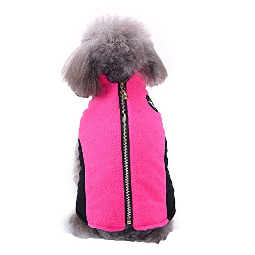 Fleece Autumn Winter Cold Weather Dog Vest Clothes with Zipper, Small Medium (Hot Pink, XL)