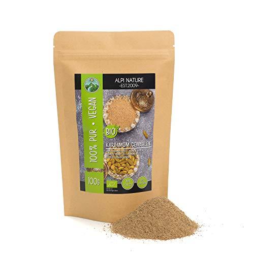 Cardamomo orgánico molido (100g), polvo de cardamomo cultivado orgánicamente, sin gluten, sin lactosa, probado en laboratorio, por supuesto sin aditivos, cardamomo especia vegano en polvo