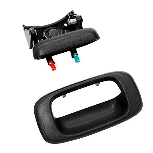 Tailgate Handle Latch and Bezel Trim with Rod Clips | for 1999-2007 Chevy Silverado GMC Sierra 1500 2500 3500 | Replaces# 15997911, 15228539, 15228541, 15228540
