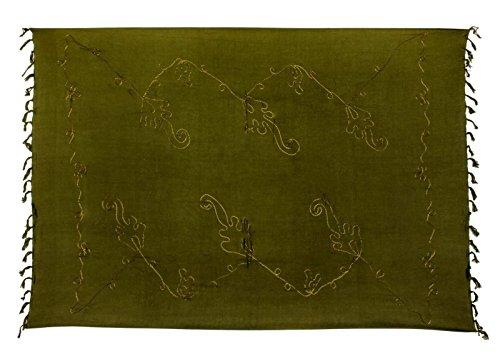 Ciffre Premium Sarong Pareo Wickelrock Strandtuch Lunghi Dhoti Schlicht Blickdicht Tolle Stickerei Khaki Olive Dunkel Grün