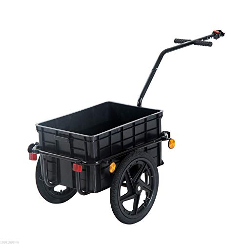 Aosom Double Wheel Internal Frame Enclosed Bicycle Cargo Trailer - Black