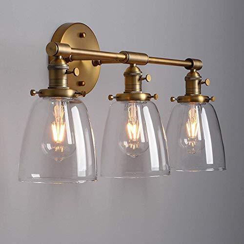 VOMI Lámpara de Espejo Baño Vintage Industrial Con interruptor Aplique de Pared Interior Retro 3 Luces Lámpara de Pared Con Transparente Pantalla de Cristal E27 para Tocador Dormitorio,Latón
