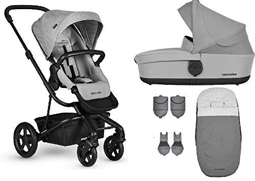 Easywalker Harvey² Kinderwagen + Babywanne + Fußsack + Adapter für Autositz + Höhenadapter Stone Grey