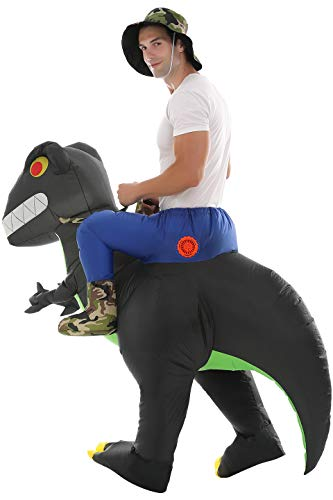Inflatable Dinosaur T-Rex Costume Fancy Dress Halloween Blow up Costumes (Army Green Adult)
