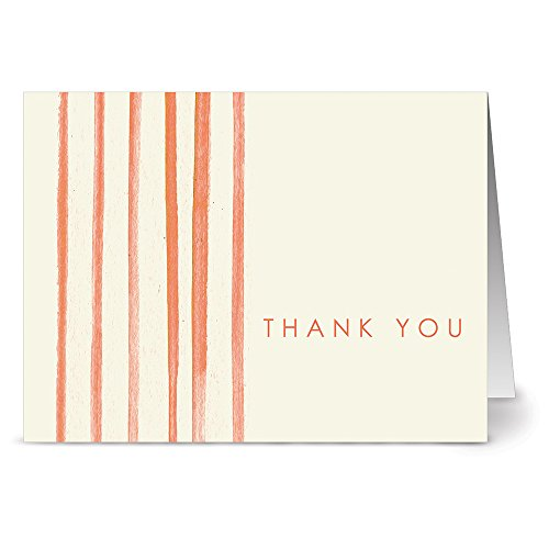 Note Card Cafe Thank You Cards with Kraft Envelopes   24 Pack   Painted, Striped Orange Thank You   Blank Inside, Glossy Finish   for Greeting Cards, Occasions, Birthdays, Gifts