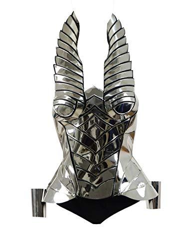 Yewei Damen Robot Knight Krieger Punk Leather Metall Korsett Cosplay Kostüm Outfit (Silber A, M)