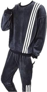 Men 2 Pieces Jacket & Pants Fleece Elastic Waist Sweatpants Joggers Athletic Workout Running Wear
