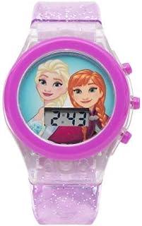 ساعة يد رقمية بمينا مزود بضوء ليد ورسومات مستوحاة من فيلم فروزن للفتيات من ديزني - موديل SA7210DF