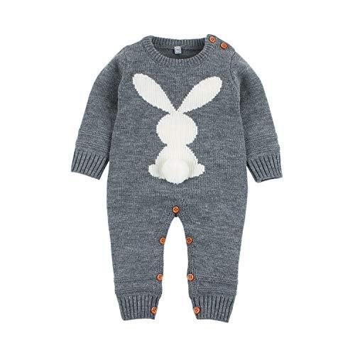 mimixiong Baby Kinder Mädchen Junge Strampler Overall Osterhasen Outfits Kleidung(Grau,18-24 Monate)