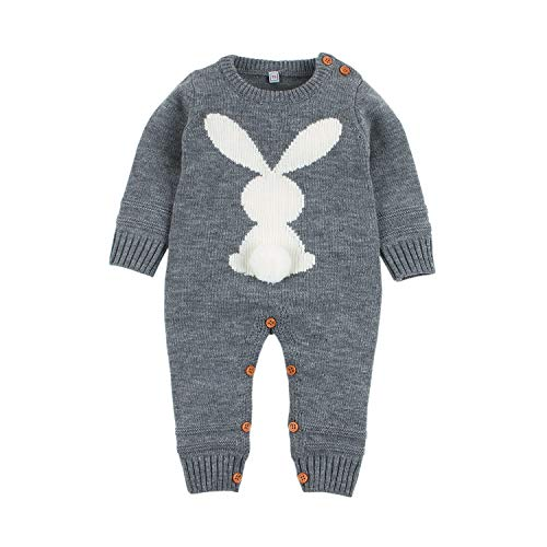 mimixiong Baby Kinder Mädchen Junge Strampler Overall Osterhasen Outfits Kleidung(Grau,18-24 Monate)