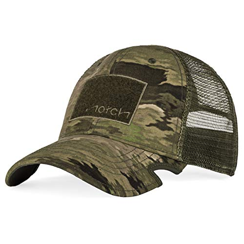 Notch Adjustable A-TACS iX Tactical Operator Cap, Mens Camo Baseball Hat Patented Notches Work with Sunglasses, Shooting Glasses, EarPro, Range Hat, Hunting, Fishing Gear