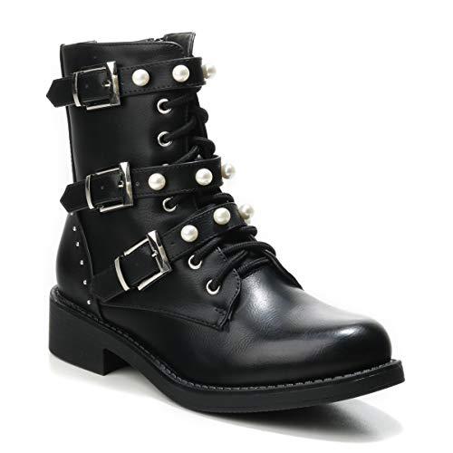 HERIXO Damen Schuhe Stiefeletten Schnallen Verzierung Perlen Reissverschluss Flache Nieten halbhoche Schnürboots Schnürer Military Boots (38 EU, Black)
